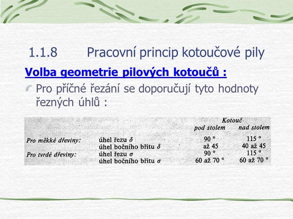1.1.8Pracovní princip kotoučové pily Průměr pilového kotouče D se má volit co nejmenší z těchto důvodů : a) zmenší se úhel přeřezávání vláken, břit př