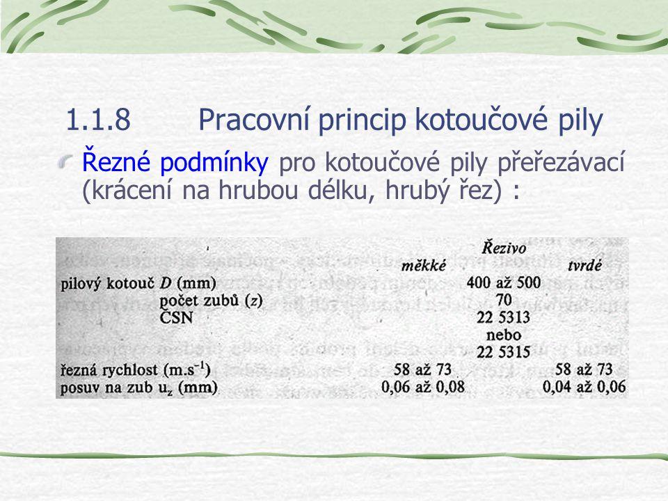 1.1.8Pracovní princip kotoučové pily Volba řezných podmínek. Volba řezných podmínek při řezání pilovými kotouči se řídí především požadovanou jakostí