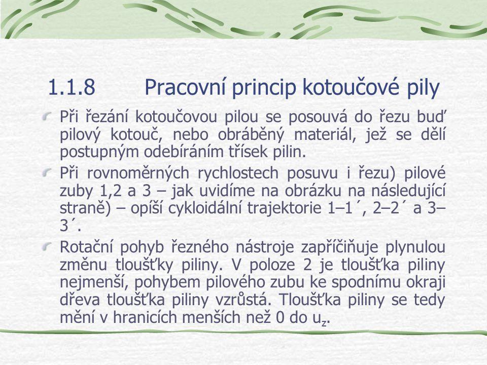 1.1.8Pracovní princip kotoučové pily Kotoučová pila řeže dřevo jedním nebo několika pilovými kotouči. Pilový kotouč je nástroj s několikanásobnými bři