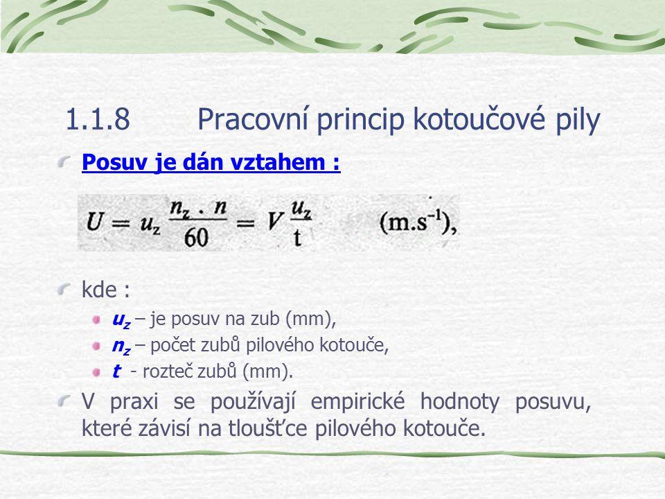 1.1.8Pracovní princip kotoučové pily Řezná rychlost kotoučové pily je dána vztahem: kde : D je průměr pilového kotouče (m), R – je poloměr pilového ko