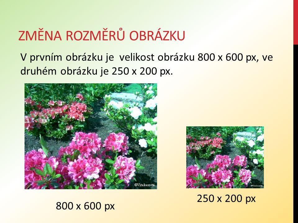 ZMĚNA ROZMĚRŮ OBRÁZKU V prvním obrázku je velikost obrázku 800 x 600 px, ve druhém obrázku je 250 x 200 px. 800 x 600 px 250 x 200 px