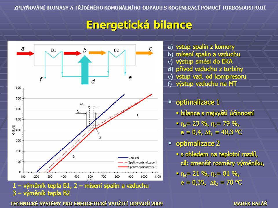 ZPLYŇOVÁNÍ BIOMASY A TŘÍDĚNÉHO KOMUNÁLNÍHO ODPADU S KOGENERACÍ POMOCÍ TURBOSOUSTROJÍ TECHNICKÉ SYSTÉMY PRO ENERGETICKÉ VYUŽITÍ ODPADŮ 2009MAREK BALÁŠ Energetická bilance a) a) vstup spalin z komory b) b) mísení spalin a vzduchu c) c) výstup směsi do EKA d) d) přívod vzduchu z turbíny e) e) vstup vzd.