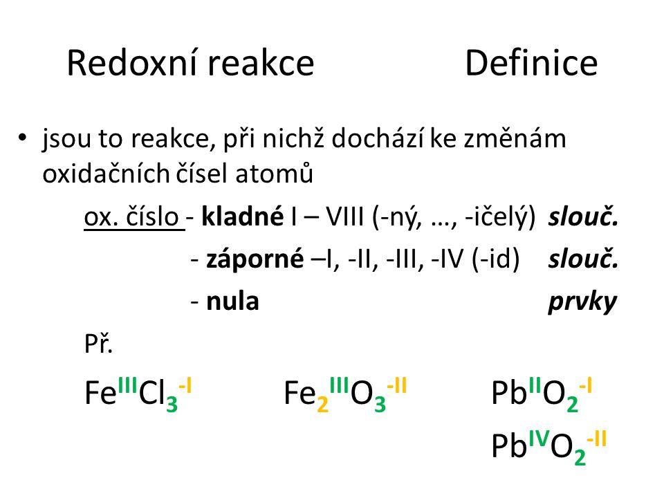 Redoxní reakceDefinice jsou to reakce, při nichž dochází ke změnám oxidačních čísel atomů ox. číslo - kladné I – VIII (-ný, …, -ičelý)slouč. - záporné
