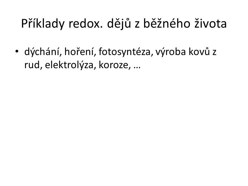 Příklady redox. dějů z běžného života dýchání, hoření, fotosyntéza, výroba kovů z rud, elektrolýza, koroze, …