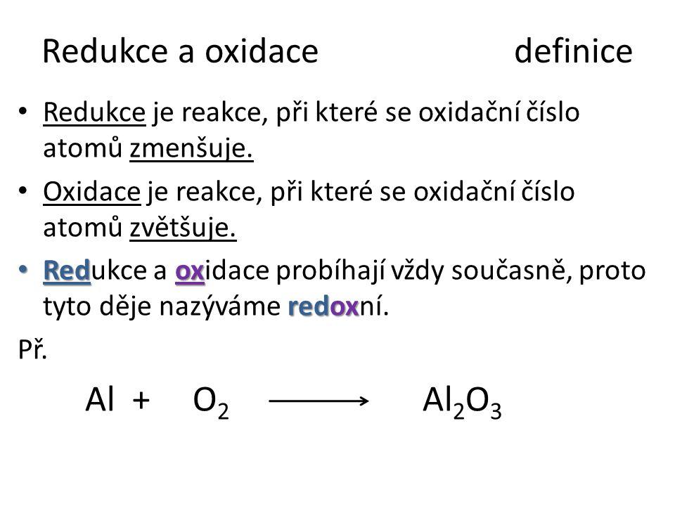 Redukce a oxidacedefinice Redukce je reakce, při které se oxidační číslo atomů zmenšuje. Oxidace je reakce, při které se oxidační číslo atomů zvětšuje