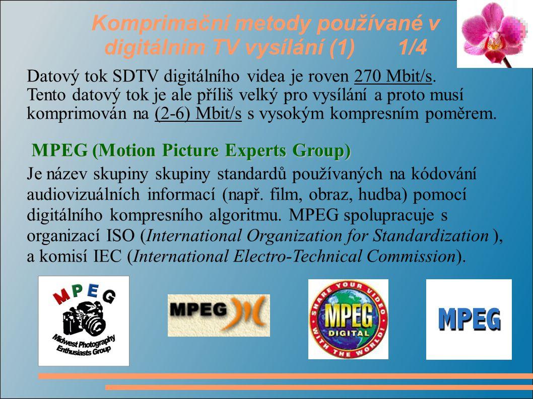Komprimační metody používané v digitálním TV vysílání (1) 1/4 Datový tok SDTV digitálního videa je roven 270 Mbit/s.