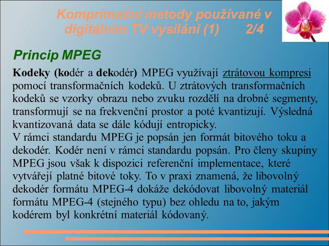 Komprimační metody používané v digitálním TV vysílání (1) 3/4 Skupina MPEG standardizovala následující kompresní formáty: MPEG 1  MPEG 1 Kódování pohyblivého obrazu a přidruženého zvuku pro digitální datové nosiče s rychlostí přenosu 0,9 až 1,5 Mbitu/s.