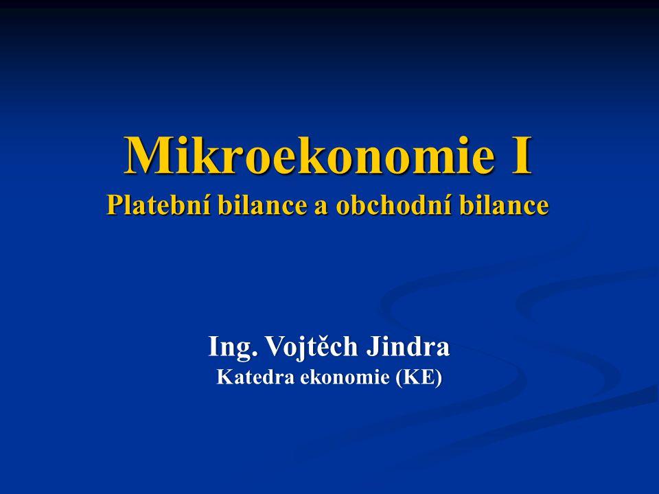 Mikroekonomie I Platební bilance a obchodní bilance Ing.