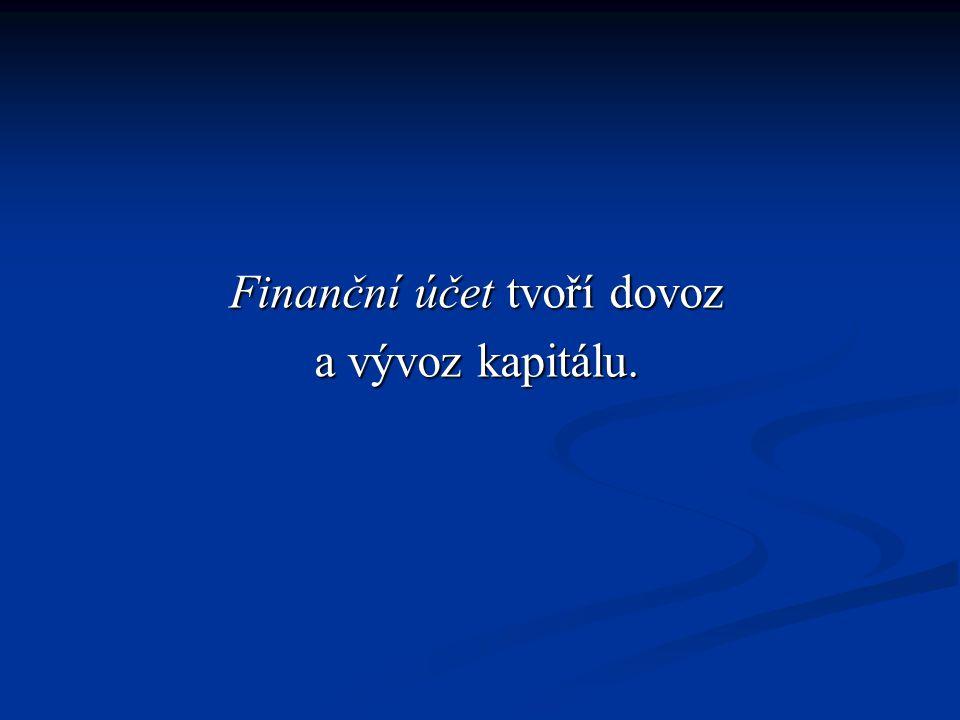 Finanční účet tvoří dovoz a vývoz kapitálu.