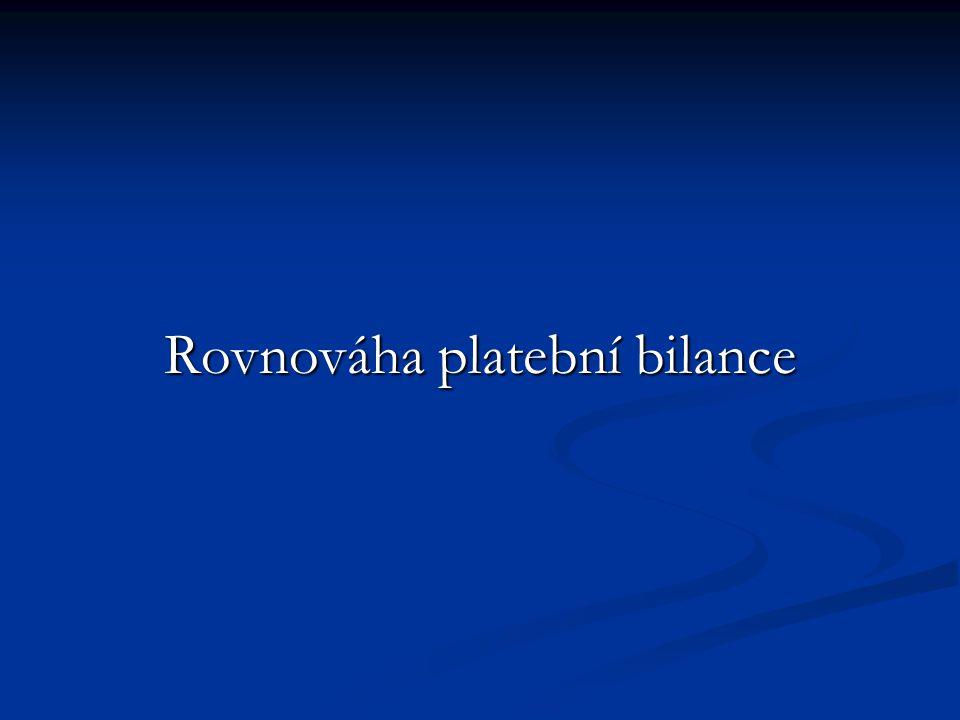 Platební bilance je v rovnováze, právě když je schodek běžného účtu plně pokryt přebytkem finančního účtu.