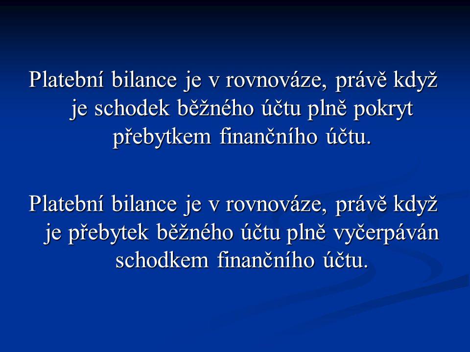 Mechanismem, který uvádí platební bilanci do rovnováhy, je volně pohyblivý měnový kurz.