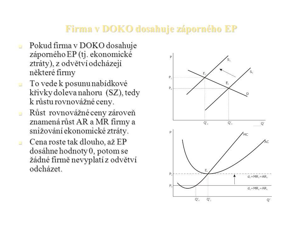 Firma v DOKO dosahuje záporného EP Pokud firma v DOKO dosahuje záporného EP (tj.