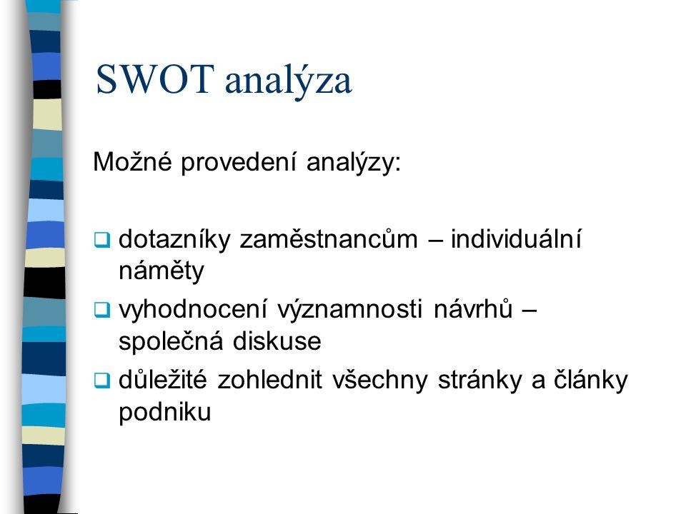 SWOT analýza Možné provedení analýzy:  dotazníky zaměstnancům – individuální náměty  vyhodnocení významnosti návrhů – společná diskuse  důležité zohlednit všechny stránky a články podniku