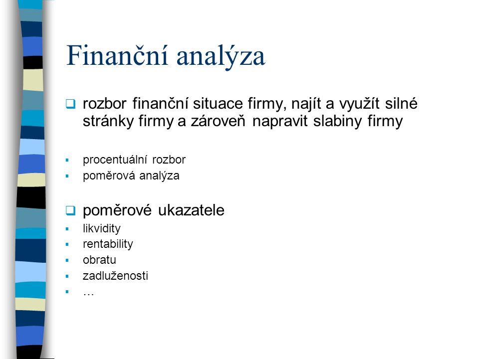 Finanční analýza  rozbor finanční situace firmy, najít a využít silné stránky firmy a zároveň napravit slabiny firmy  procentuální rozbor  poměrová analýza  poměrové ukazatele  likvidity  rentability  obratu  zadluženosti  …