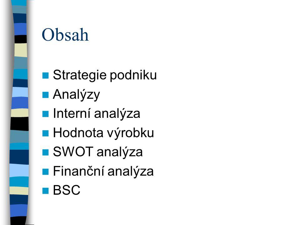 Obsah Strategie podniku Analýzy Interní analýza Hodnota výrobku SWOT analýza Finanční analýza BSC