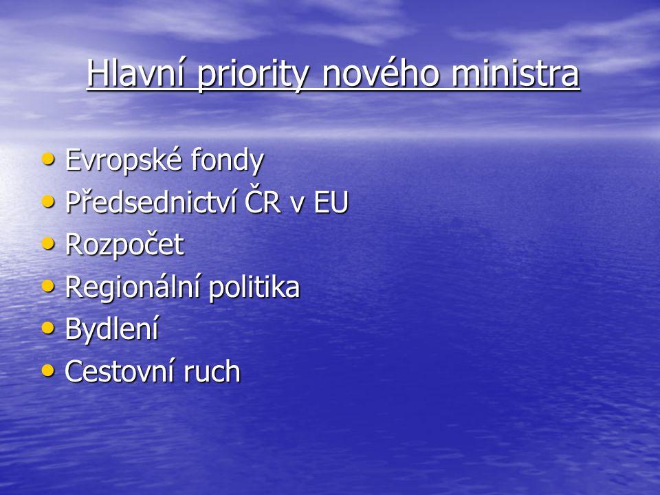 Hlavní priority nového ministra Hlavní priority nového ministra Evropské fondy Evropské fondy Předsednictví ČR v EU Předsednictví ČR v EU Rozpočet Rozpočet Regionální politika Regionální politika Bydlení Bydlení Cestovní ruch Cestovní ruch