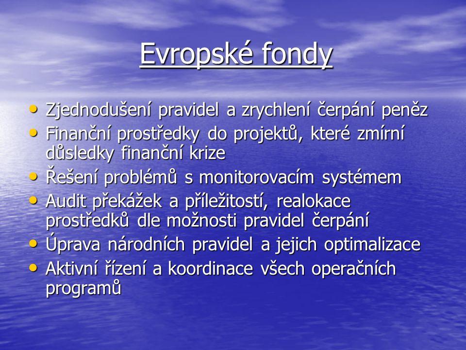 Evropské fondy Evropské fondy Zjednodušení pravidel a zrychlení čerpání peněz Zjednodušení pravidel a zrychlení čerpání peněz Finanční prostředky do projektů, které zmírní důsledky finanční krize Finanční prostředky do projektů, které zmírní důsledky finanční krize Řešení problémů s monitorovacím systémem Řešení problémů s monitorovacím systémem Audit překážek a příležitostí, realokace prostředků dle možnosti pravidel čerpání Audit překážek a příležitostí, realokace prostředků dle možnosti pravidel čerpání Úprava národních pravidel a jejich optimalizace Úprava národních pravidel a jejich optimalizace Aktivní řízení a koordinace všech operačních programů Aktivní řízení a koordinace všech operačních programů