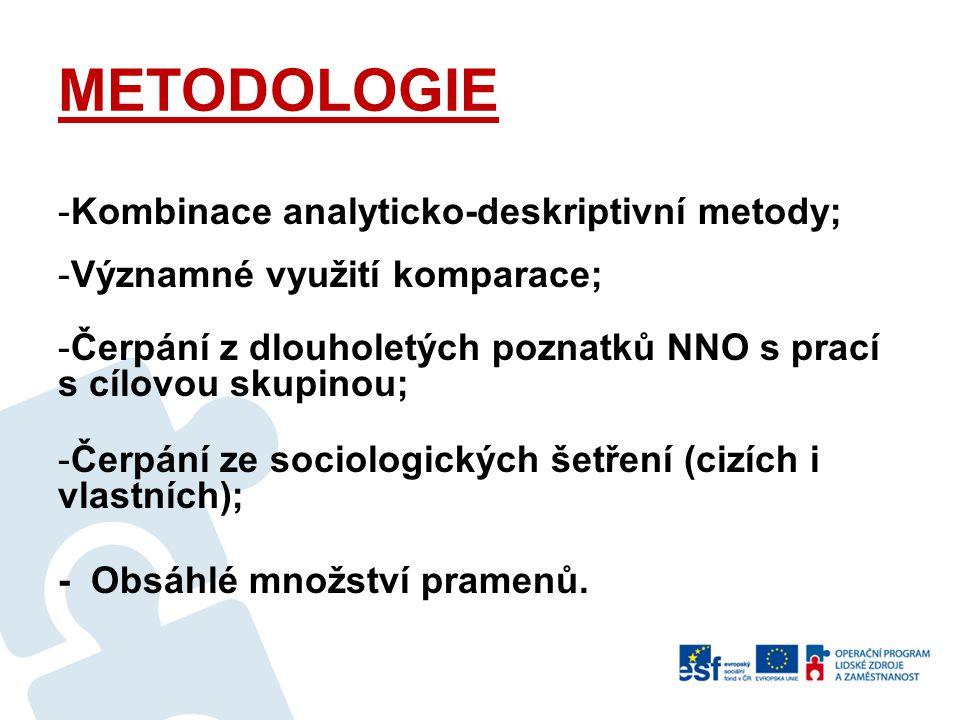 METODOLOGIE -Kombinace analyticko-deskriptivní metody; -Významné využití komparace; -Čerpání z dlouholetých poznatků NNO s prací s cílovou skupinou; -Čerpání ze sociologických šetření (cizích i vlastních); - Obsáhlé množství pramenů.