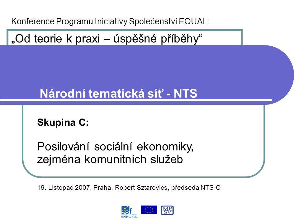 """Konference Programu Iniciativy Společenství EQUAL: """"Od teorie k praxi – úspěšné příběhy Národní tematická síť - NTS Skupina C: Posilování sociální ekonomiky, zejména komunitních služeb 19."""
