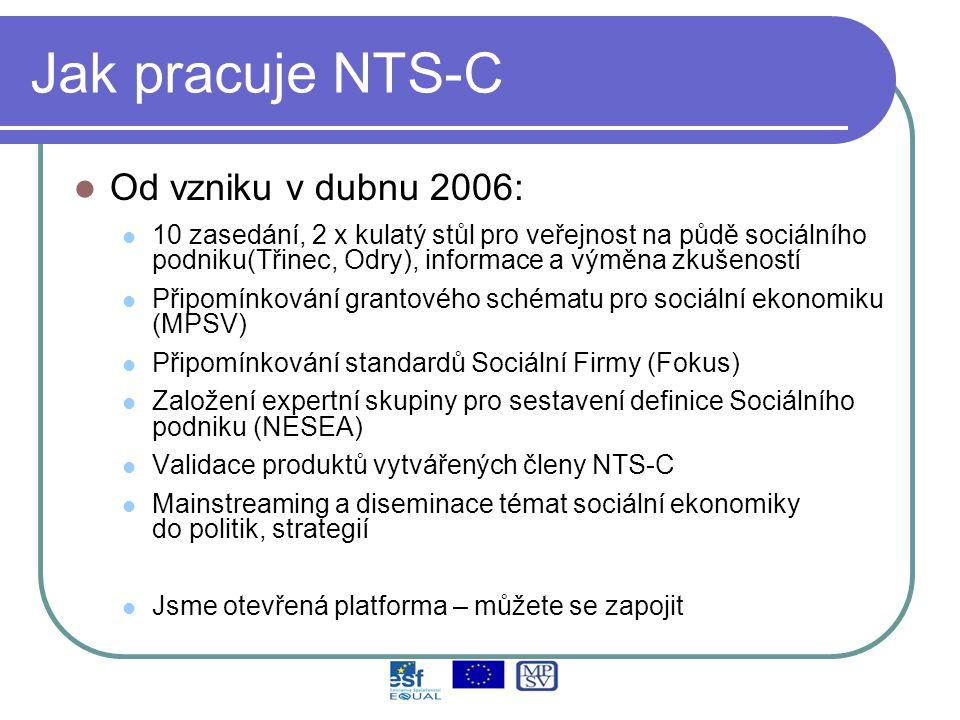 Jak pracuje NTS-C Od vzniku v dubnu 2006: 10 zasedání, 2 x kulatý stůl pro veřejnost na půdě sociálního podniku(Třinec, Odry), informace a výměna zkušeností Připomínkování grantového schématu pro sociální ekonomiku (MPSV) Připomínkování standardů Sociální Firmy (Fokus) Založení expertní skupiny pro sestavení definice Sociálního podniku (NESEA) Validace produktů vytvářených členy NTS-C Mainstreaming a diseminace témat sociální ekonomiky do politik, strategií Jsme otevřená platforma – můžete se zapojit