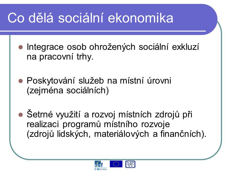 Co dělá sociální ekonomika Integrace osob ohrožených sociální exkluzí na pracovní trhy.