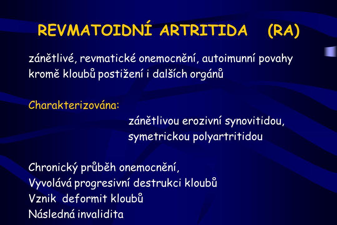ARTRITIDA (Kloubní synoviální zánět) Zánětlivý proces postihuje kloubní výstelku - synoviální mem.
