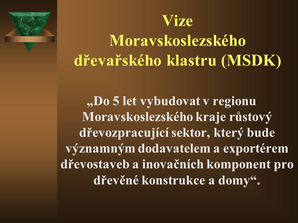 """Vize Moravskoslezského dřevařského klastru (MSDK) """"Do 5 let vybudovat v regionu Moravskoslezského kraje růstový dřevozpracující sektor, který bude významným dodavatelem a exportérem dřevostaveb a inovačních komponent pro dřevěné konstrukce a domy ."""