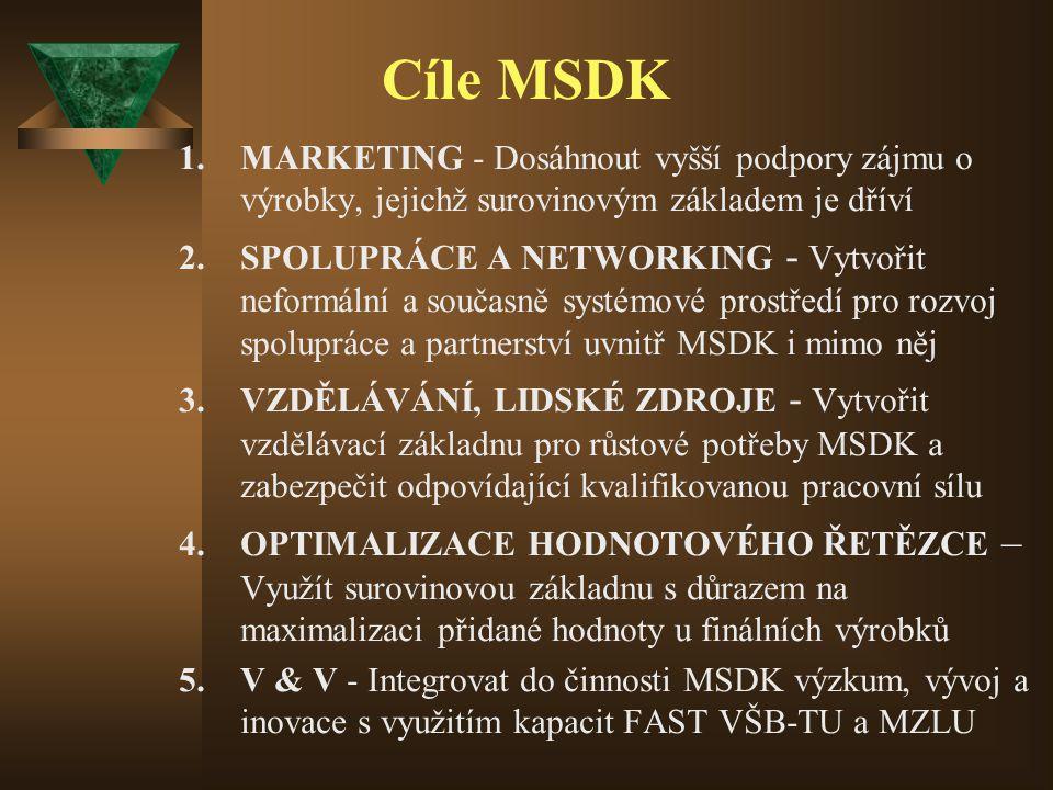 Cíle MSDK 1.MARKETING - Dosáhnout vyšší podpory zájmu o výrobky, jejichž surovinovým základem je dříví 2.SPOLUPRÁCE A NETWORKING - Vytvořit neformální a současně systémové prostředí pro rozvoj spolupráce a partnerství uvnitř MSDK i mimo něj 3.VZDĚLÁVÁNÍ, LIDSKÉ ZDROJE - Vytvořit vzdělávací základnu pro růstové potřeby MSDK a zabezpečit odpovídající kvalifikovanou pracovní sílu 4.OPTIMALIZACE HODNOTOVÉHO ŘETĚZCE – Využít surovinovou základnu s důrazem na maximalizaci přidané hodnoty u finálních výrobků 5.V & V - Integrovat do činnosti MSDK výzkum, vývoj a inovace s využitím kapacit FAST VŠB-TU a MZLU