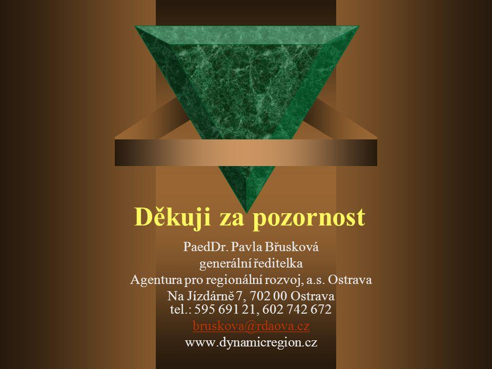 Děkuji za pozornost PaedDr. Pavla Břusková generální ředitelka Agentura pro regionální rozvoj, a.s.