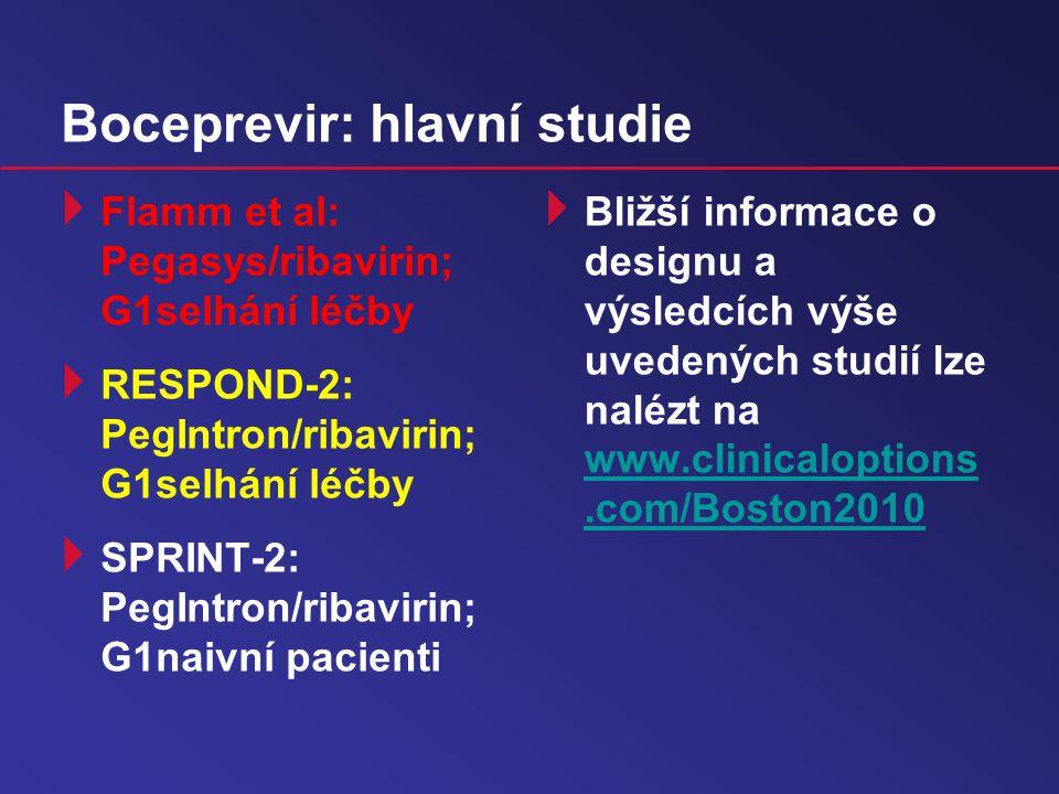 Boceprevir: hlavní studie  Flamm et al: Pegasys/ribavirin; G1selhání léčby  RESPOND-2: PegIntron/ribavirin; G1selhání léčby  SPRINT-2: PegIntron/ribavirin; G1naivní pacienti  Bližší informace o designu a výsledcích výše uvedených studií lze nalézt na www.clinicaloptions.com/Boston2010 www.clinicaloptions.com/Boston2010