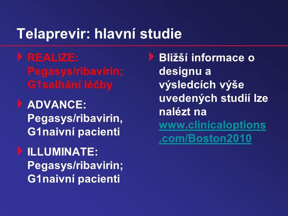 Telaprevir: hlavní studie  REALIZE: Pegasys/ribavirin; G1selhání léčby  ADVANCE: Pegasys/ribavirin, G1naivní pacienti  ILLUMINATE: Pegasys/ribavirin; G1naivní pacienti  Bližší informace o designu a výsledcích výše uvedených studií lze nalézt na www.clinicaloptions.com/Boston2010 www.clinicaloptions.com/Boston2010
