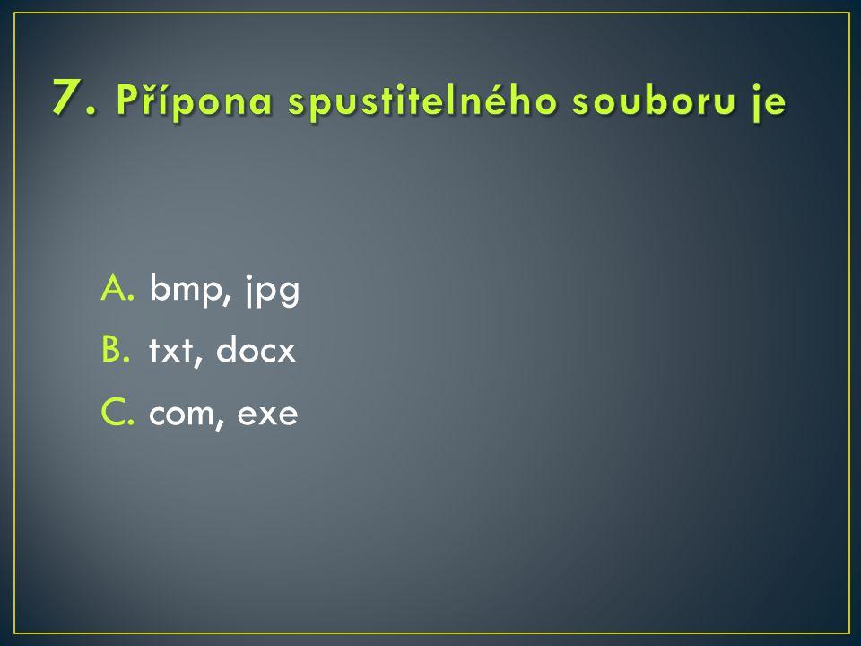 A.bmp, jpg B.txt, docx C.com, exe