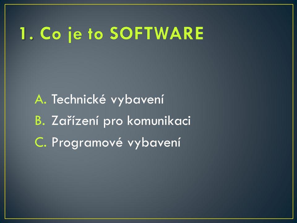 A.Technické vybavení B.Zařízení pro komunikaci C.Programové vybavení