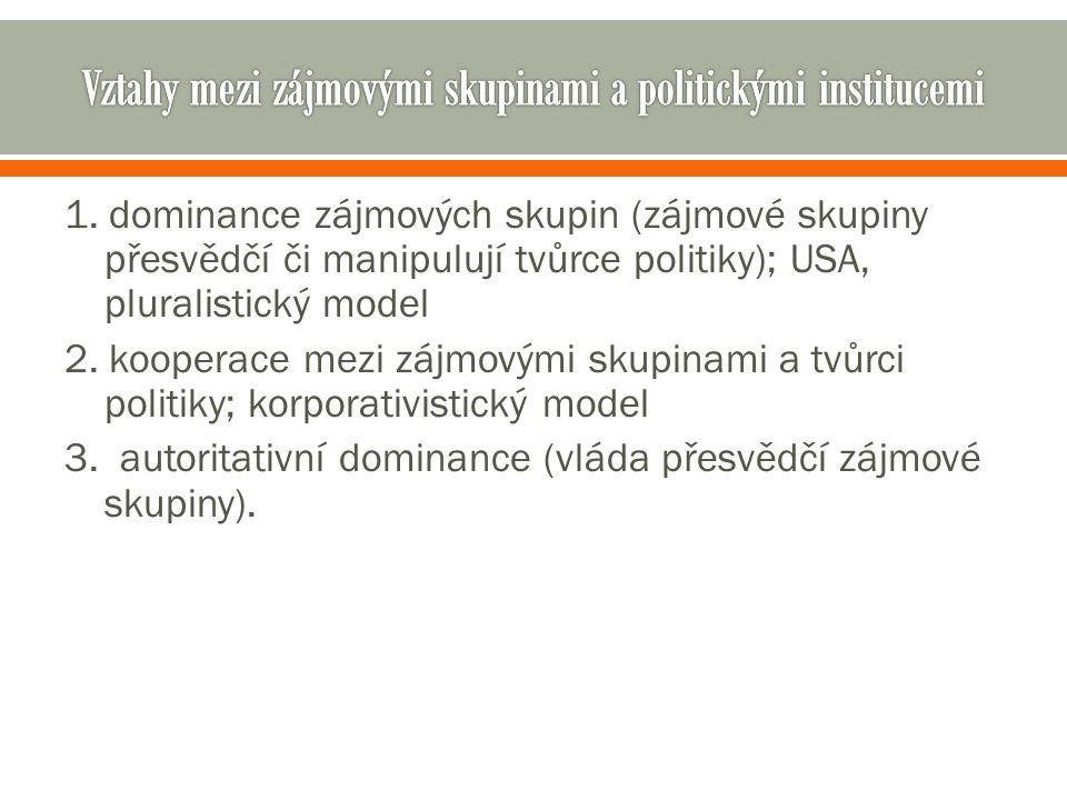 1. dominance zájmových skupin (zájmové skupiny přesvědčí či manipulují tvůrce politiky); USA, pluralistický model 2. kooperace mezi zájmovými skupinam