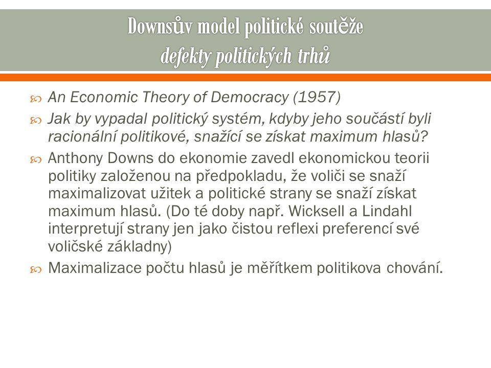  An Economic Theory of Democracy (1957)  Jak by vypadal politický systém, kdyby jeho součástí byli racionální politikové, snažící se získat maximum hlasů.