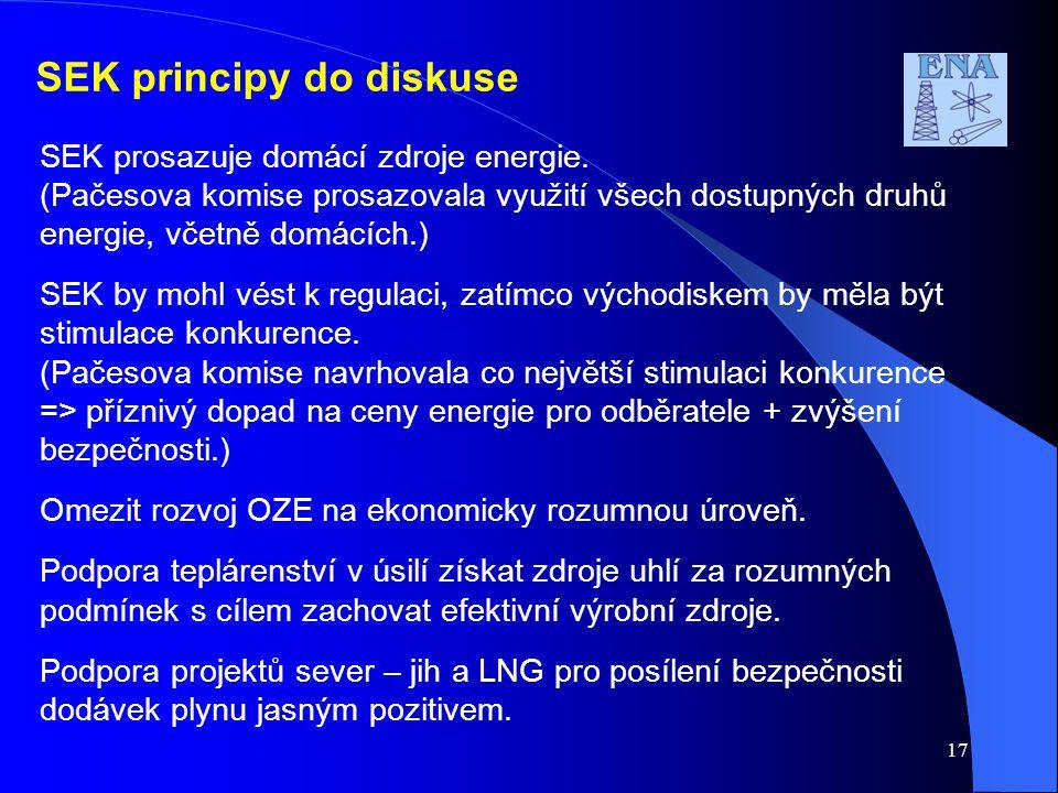 SEK principy do diskuse SEK prosazuje domácí zdroje energie. (Pačesova komise prosazovala využití všech dostupných druhů energie, včetně domácích.) SE