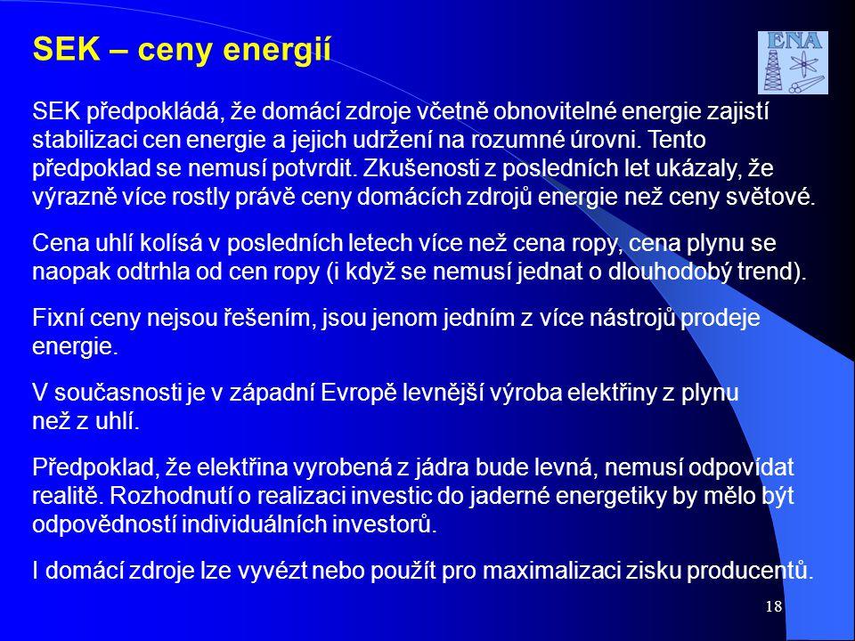 SEK – ceny energií SEK předpokládá, že domácí zdroje včetně obnovitelné energie zajistí stabilizaci cen energie a jejich udržení na rozumné úrovni. Te