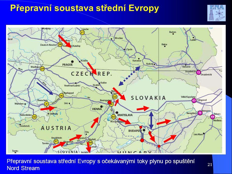 21 Přepravní soustava střední Evropy Přepravní soustava střední Evropy s očekávanými toky plynu po spuštění Nord Stream