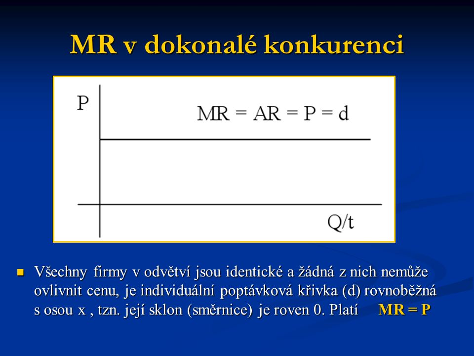MR v dokonalé konkurenci Všechny firmy v odvětví jsou identické a žádná z nich nemůže ovlivnit cenu, je individuální poptávková křivka (d) rovnoběžná