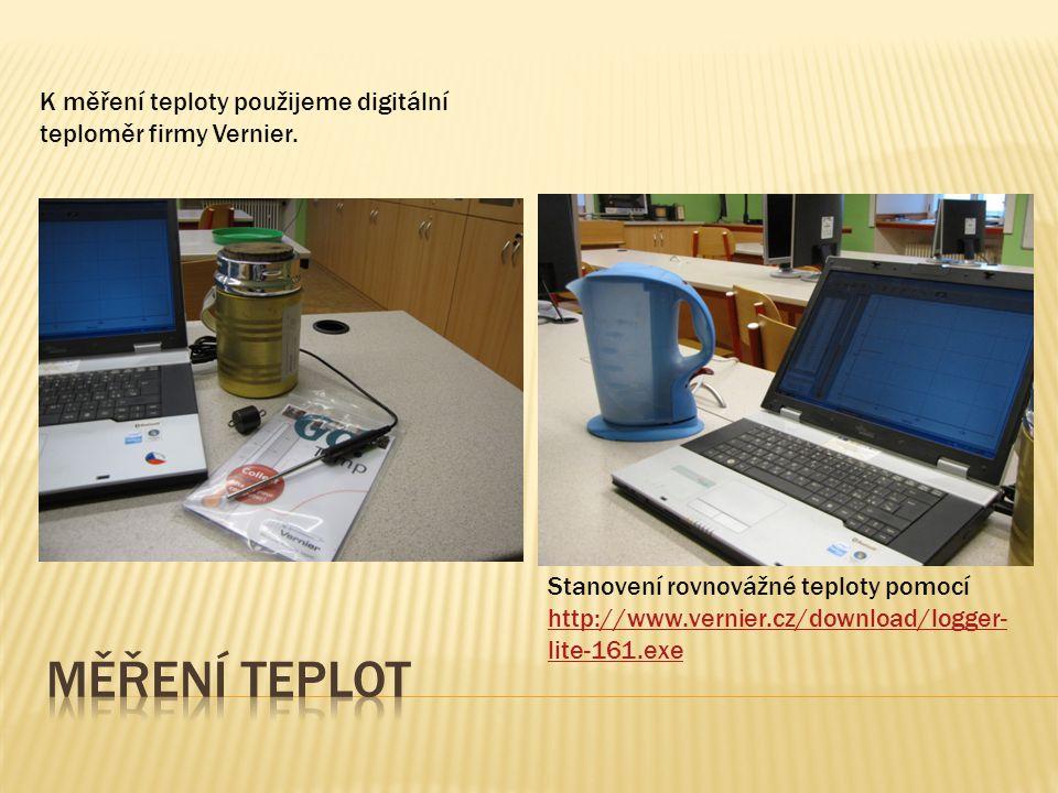 K měření teploty použijeme digitální teploměr firmy Vernier.