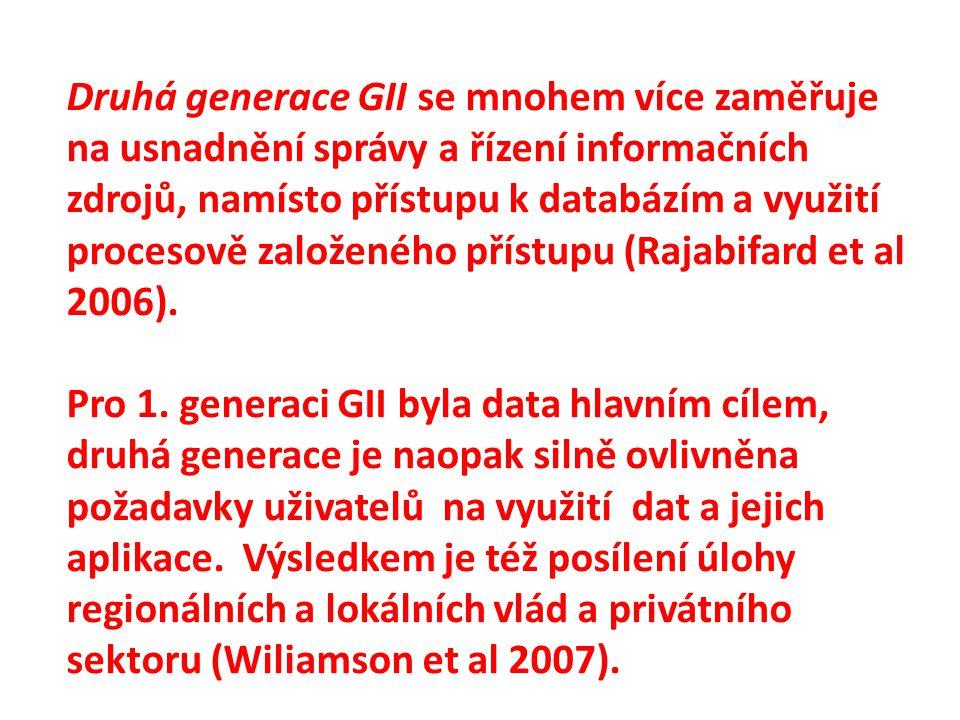 Druhá generace GII se mnohem více zaměřuje na usnadnění správy a řízení informačních zdrojů, namísto přístupu k databázím a využití procesově založeného přístupu (Rajabifard et al 2006).
