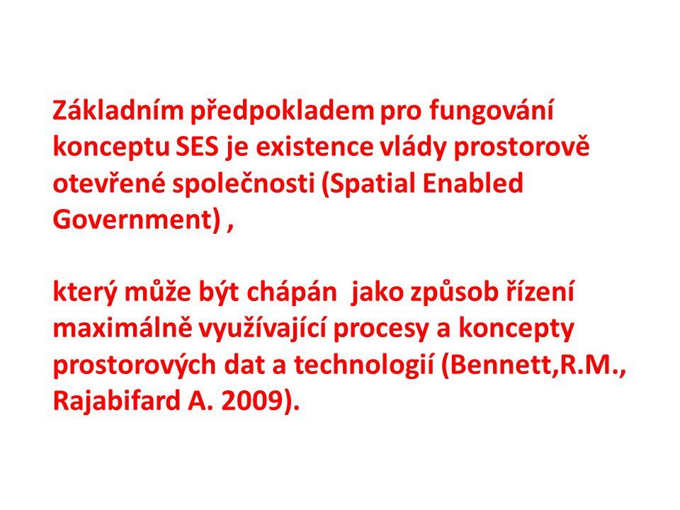 Základním předpokladem pro fungování konceptu SES je existence vlády prostorově otevřené společnosti (Spatial Enabled Government), který může být chápán jako způsob řízení maximálně využívající procesy a koncepty prostorových dat a technologií (Bennett,R.M., Rajabifard A.