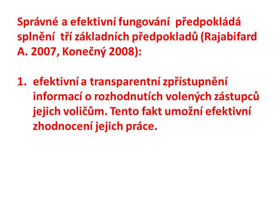 Správné a efektivní fungování předpokládá splnění tří základních předpokladů (Rajabifard A. 2007, Konečný 2008): 1.efektivní a transparentní zpřístupn