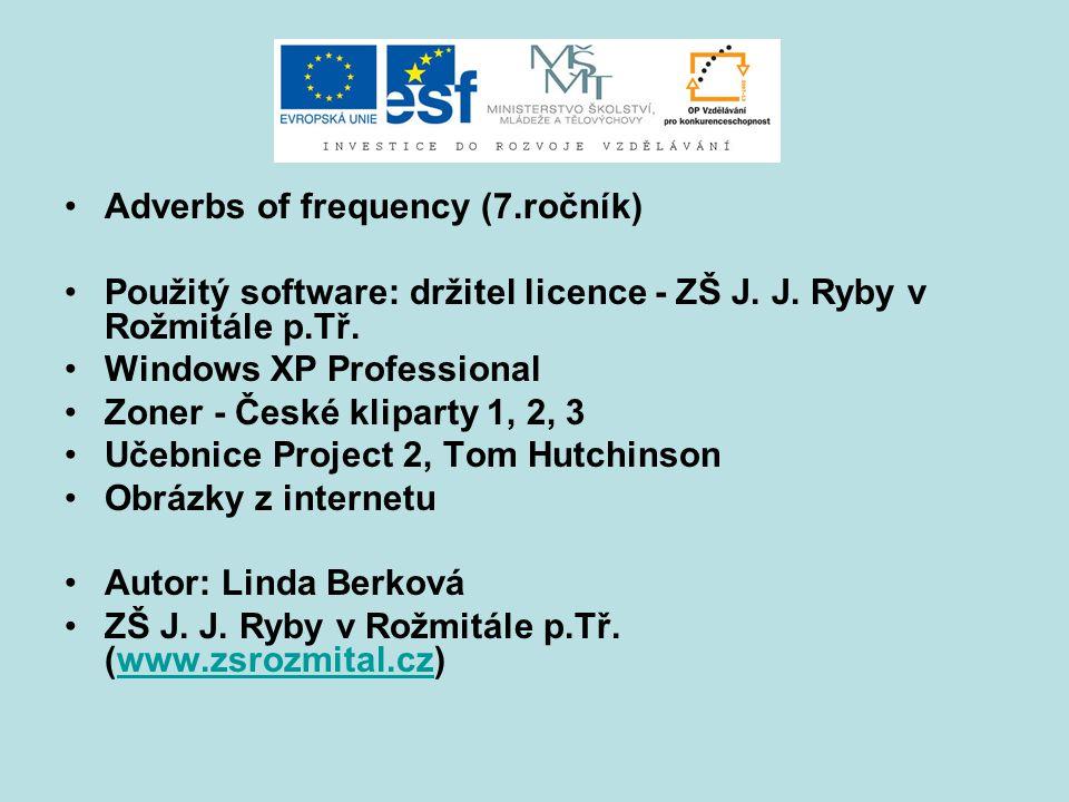 Adverbs of frequency (7.ročník) Použitý software: držitel licence - ZŠ J. J. Ryby v Rožmitále p.Tř. Windows XP Professional Zoner - České kliparty 1,