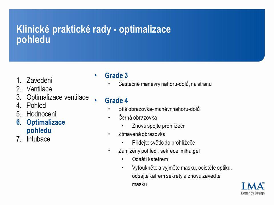 Klinické praktické rady - optimalizace pohledu 1.Zavedení 2.Ventilace 3.Optimalizace ventilace 4.Pohled 5.Hodnocení 6.Optimalizace pohledu 7.Intubace