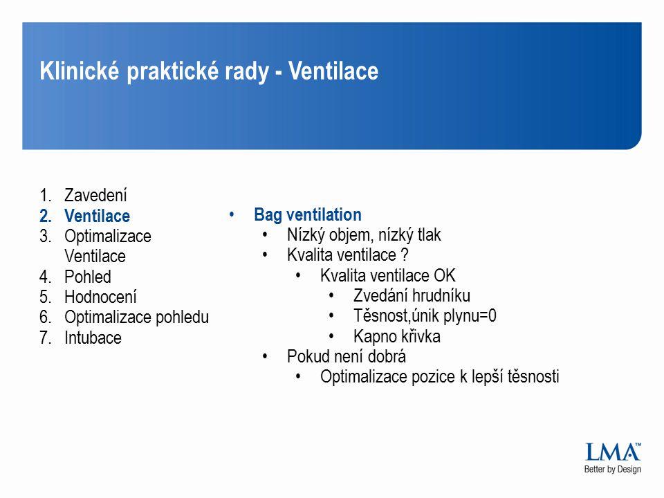 Klinické praktické rady - Ventilace 1.Zavedení 2.Ventilace 3.Optimalizace Ventilace 4.Pohled 5.Hodnocení 6.Optimalizace pohledu 7.Intubace Bag ventila