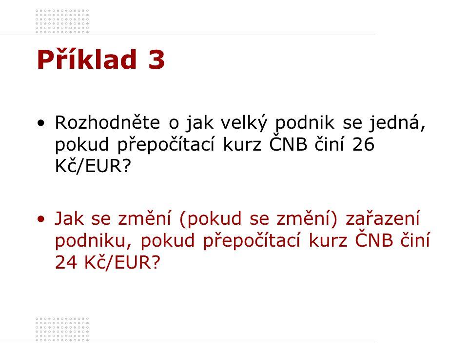 Příklad 3 Rozhodněte o jak velký podnik se jedná, pokud přepočítací kurz ČNB činí 26 Kč/EUR.