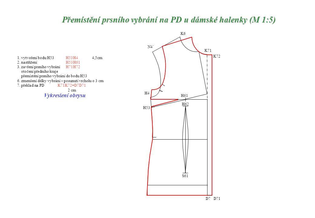 1. vytvoření bodu H53H53H4 4,5cm 2. nastřiženíH53H61 otočení předního kraje přemístění prsního vybrání do bodu H53 6. zmenšení délky vybrání – posunut
