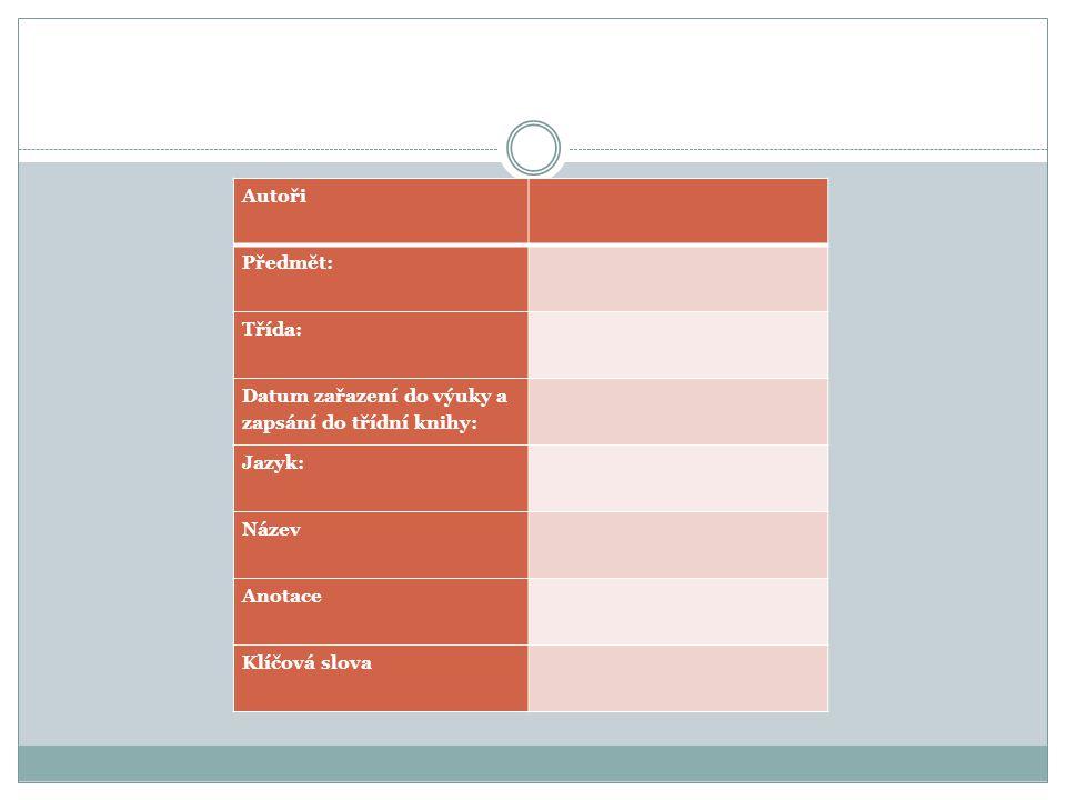 Autoři Předmět: Třída: Datum zařazení do výuky a zapsání do třídní knihy: Jazyk: Název Anotace Klíčová slova