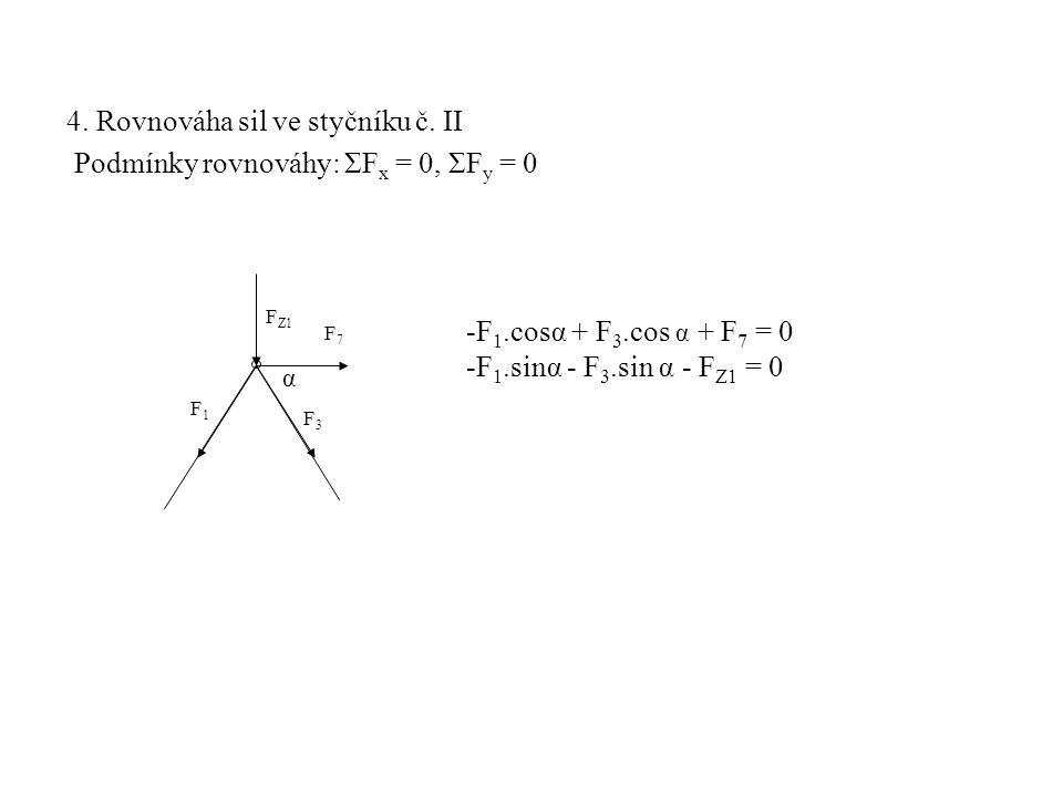 4. Rovnováha sil ve styčníku č. II Podmínky rovnováhy: ΣF x = 0, ΣF y = 0 F1F1 F Z1 F3F3 -F 1.cosα + F 3.cos α + F 7 = 0 -F 1.sinα - F 3.sin α - F Z1